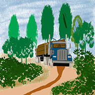 Log truck bringing the harvest out of the forest